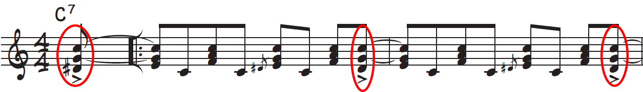 Accent the and of 4 on every measure of this riff for a more rhythmic and syncopated groove in rock and roll