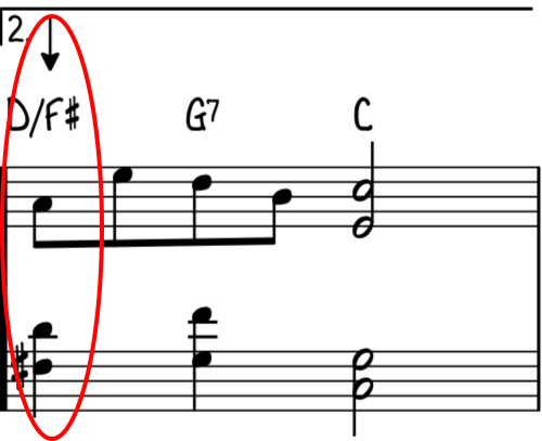Advanced ending with reharmonization using an inverted ii (D7) chord on beat 1