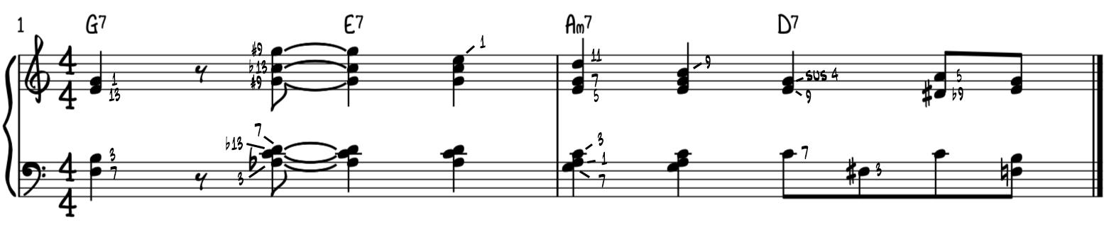 Advanced turnaround progression jazz piano two hand arrangement analysis