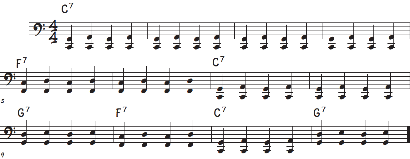 Boogie-shuffle left hand bass line accompaniment for boogie-woogie piano lick