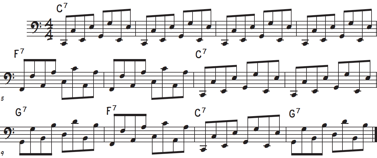Boogie-woogie octaves left hand bass line accompaniment pattern for piano