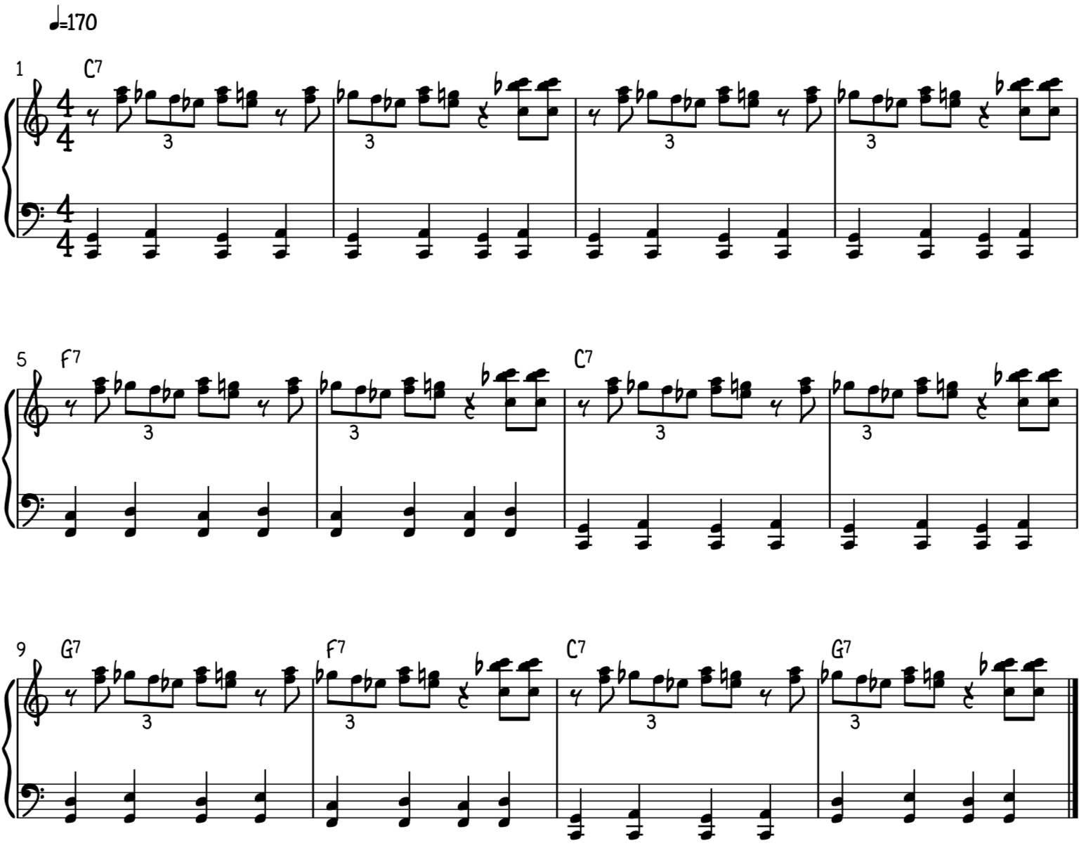Both hands of the boogie-woogie piano lick using the boogie-shuffle left hand bass line