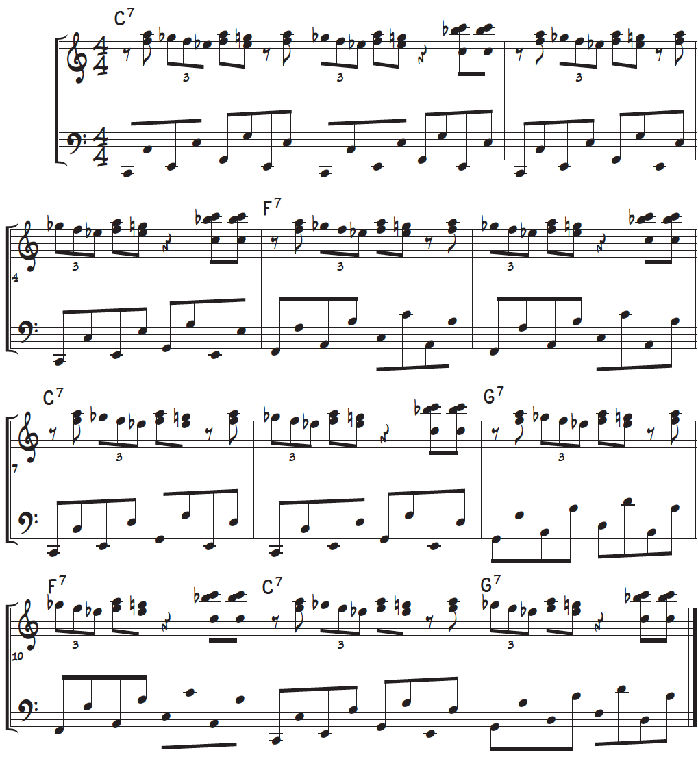 Both hands of the boogie-woogie piano lick using the more advanced boogie-octaves in the left-hand