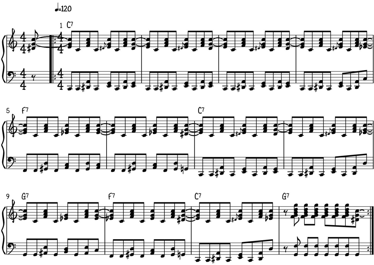 Both hands together on the rock and roll chords and accompaniment riff for piano