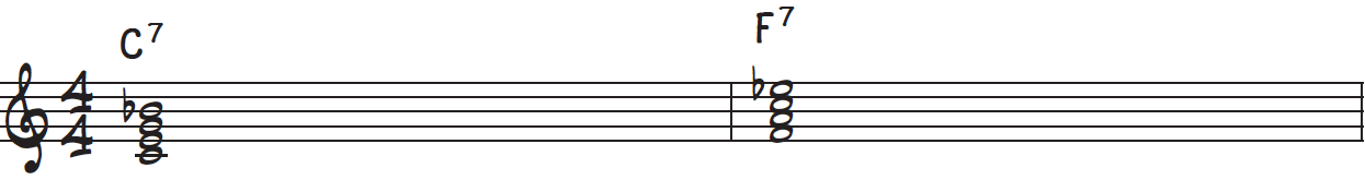 C and F dominant 7th chords in root position