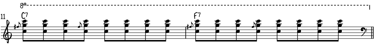 Easy funky blues piano riff 5 uses big octaves and fifths with blues slides