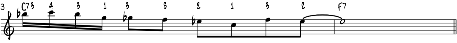 Easy funky blues piano riff using turns and blues scale