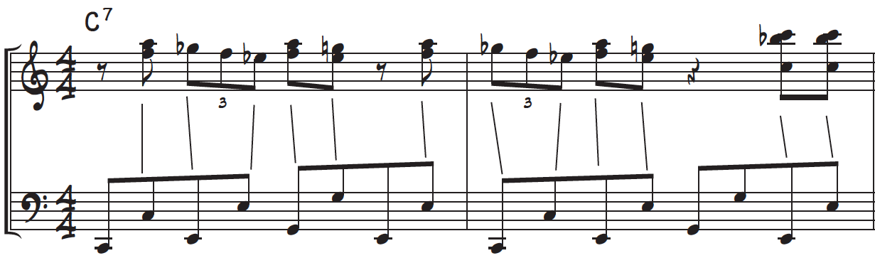 How the right hand and left hand line up when using the boogie-octaves bass line for piano