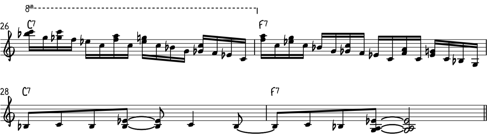 Intermediate funky blues piano riff 3 uses harmonized notes mixes with single notes to make a run down the blues scale