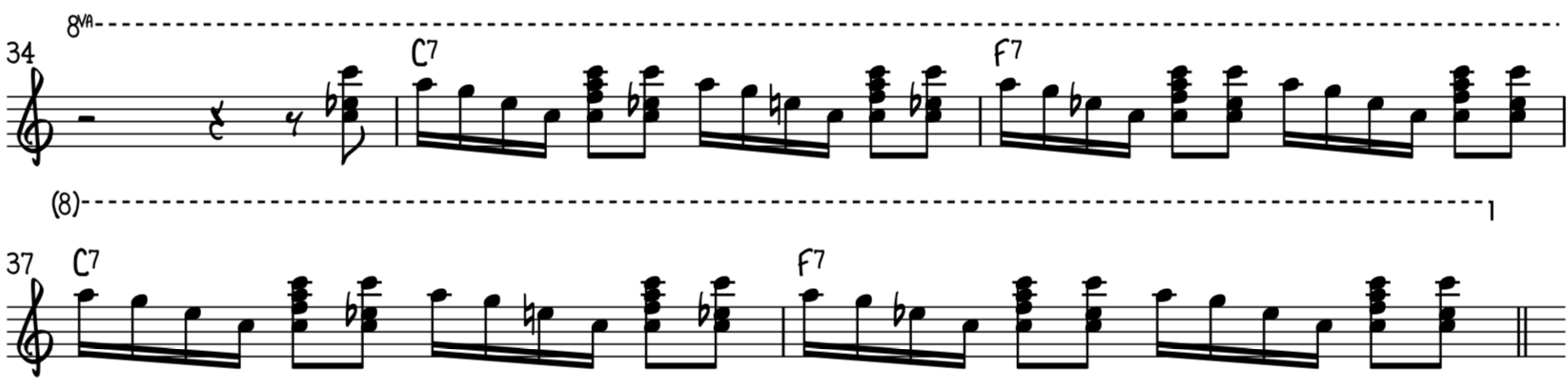 Intermediate funky blues piano riff 5 alternates large harmonized notes and blues rolls