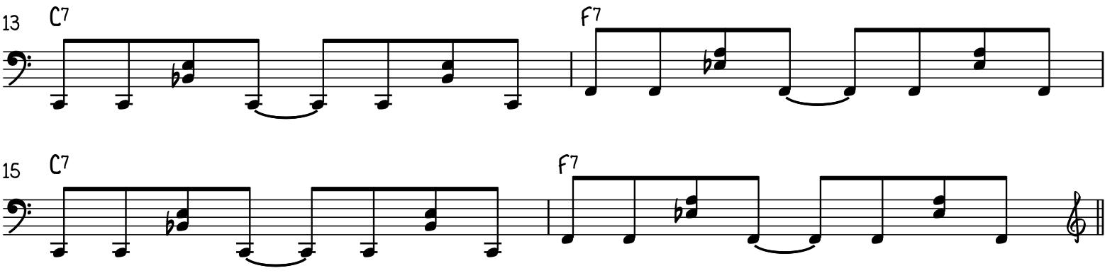 Intermediate left hand funky blues piano bassline groove