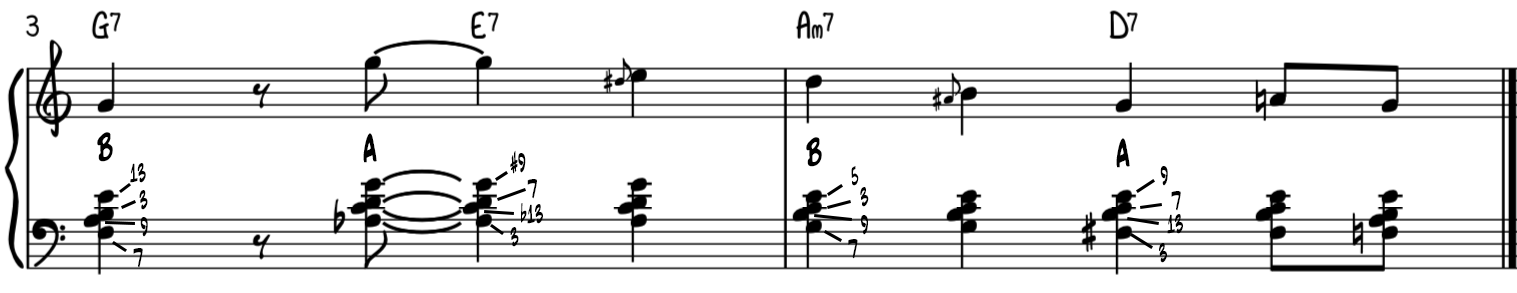 Intermediate turnaround progression for piano with rootless voicings analyzed