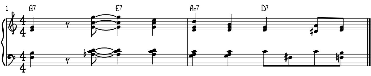 Jazz swing piano turnaround progression advanced version for piano using two handed spread voicings to harmonize the melody and a counterline