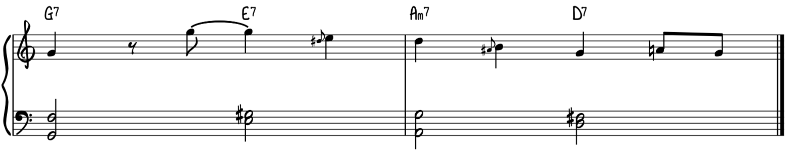 Jazz swing turnaround progression easy version for piano with melody in the key of G major