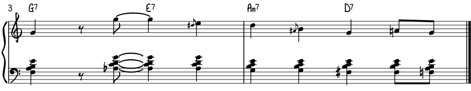 Jazz swing turnaround progression intermediate version for piano using rootless voicings in the left hand
