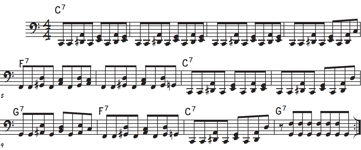 Left hand bassline accompaniment for the rock and roll piano tutorial