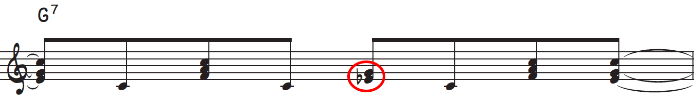 The D# or Eb is also kept over the G7 in order establish variation when playing a chord other than C7