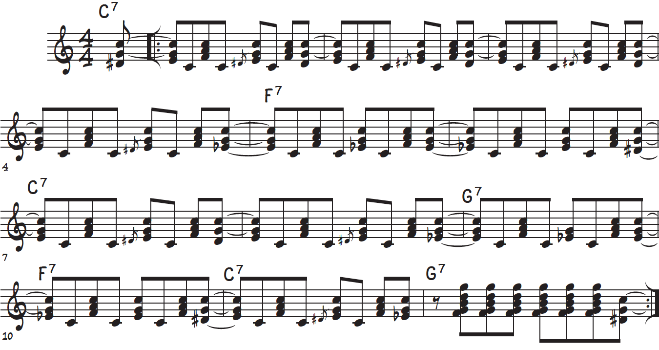 The right hand rock and roll riff or lick for piano over the 12 bar blues form