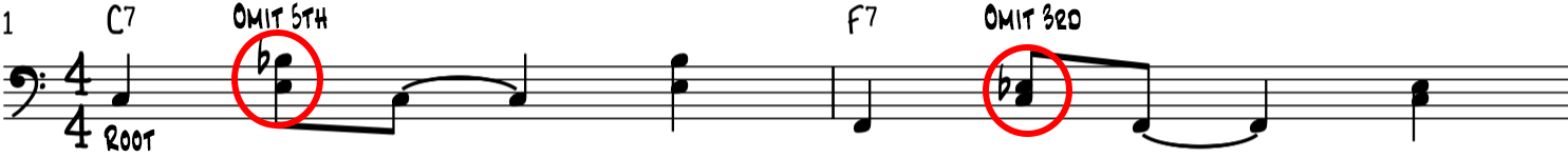 We omit certain notes in the left hand funk blues piano bass groove for a clearer sound
