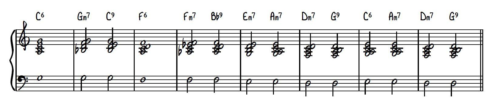Block chord drop 2 piano voicing