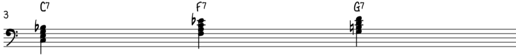 Blues piano uses mainly 3 dominant 7 chords, C7, F7, and G7 while jazz piano uses much more