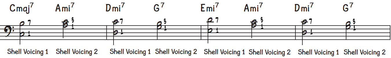 First 4 bars of jazz piano ballad with chord shells for left hand, alternating between shell voicings 1 and 2 each new chord for smooth voice leading