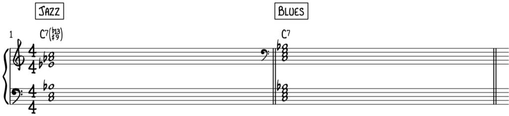Jazz voicing of C dominant 7 chord versus Blues voicing of C dominant 7 for piano