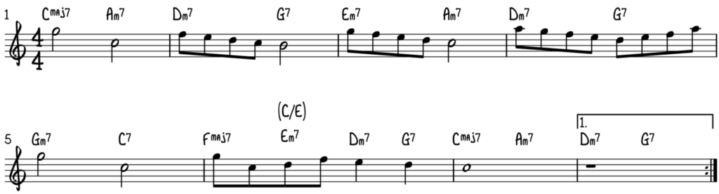 Melody and chords to be used in our play rootless voicings on our jazz piano ballad lesson