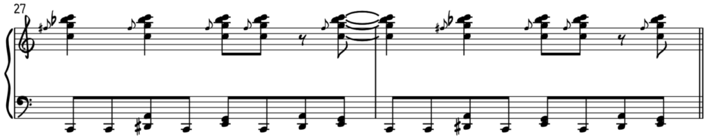Rock and roll groove for piano in C came from the blues shuffle