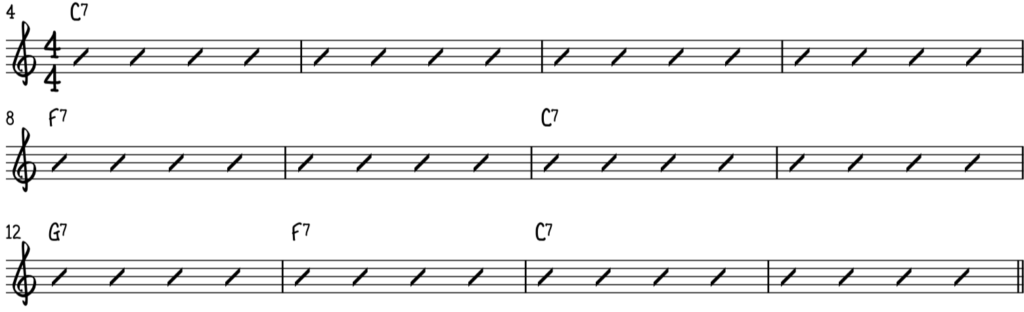 The chord progression and form used in almost every blues song, the 12-bar blues