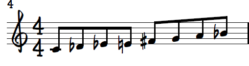 C Diminished Dominant Scale in 8th Notes