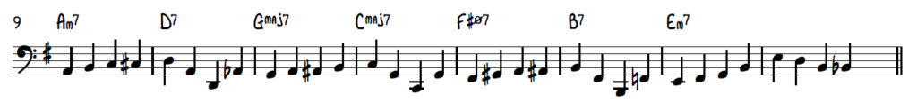 Walking bass line example