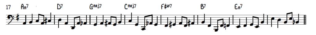 Walking bass line with swinging rhythm