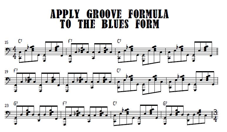 Burlesque blues groove formula over blues form