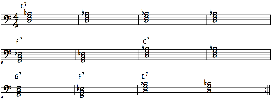 12-bar blues form in C with root position Dominant 7th chords