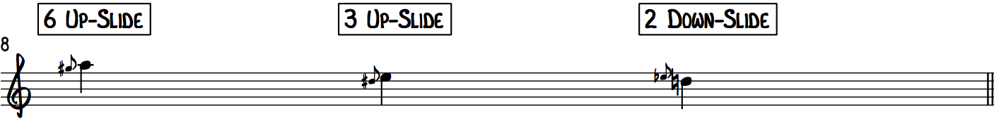 Examples of finger slides using the Gospel Scale