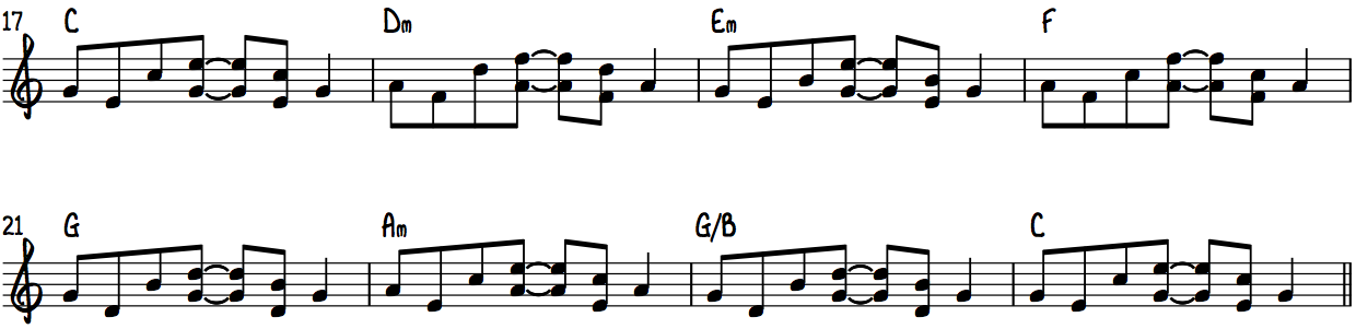 "STEP 2—Applying the ""Elton"" pattern for every chord in C Major"