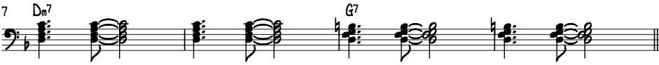 Dm7 to G7 left hand Charleston groove