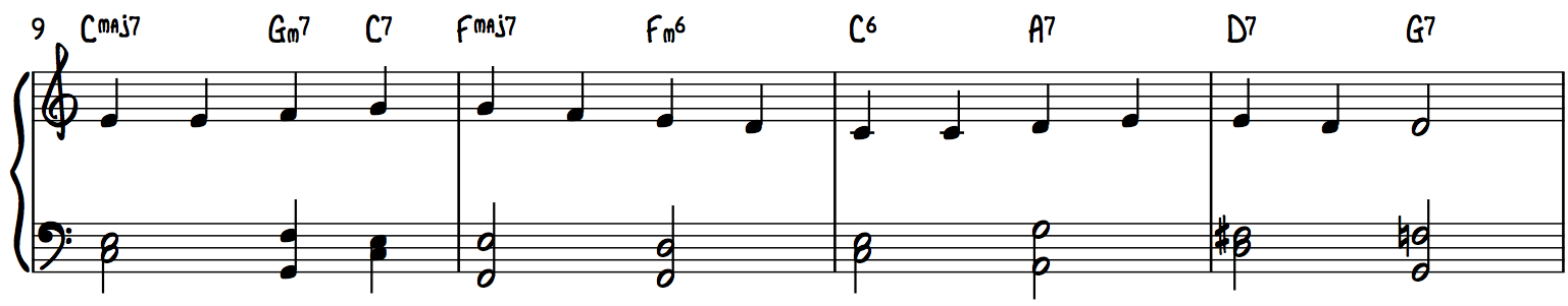Ode to Joy Line 1 with Chord Shells Jazz Swing Piano