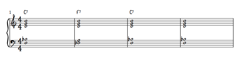 Quartal Voicing Blues Comping - First 4 Measures
