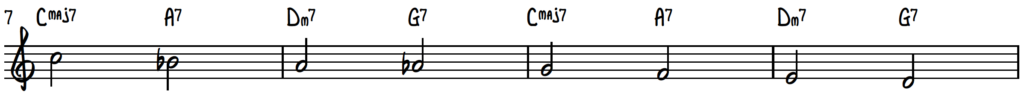 Descending melody of turnaround progression (rhythm changes) - jazz piano