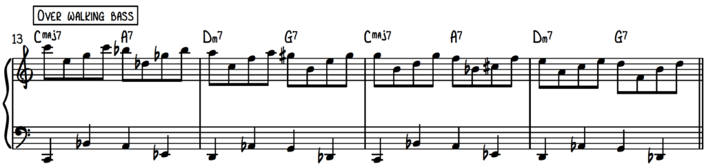Jazz piano upper structure pattern 1 with walking bass over the turnaround progression (rhythm changes)