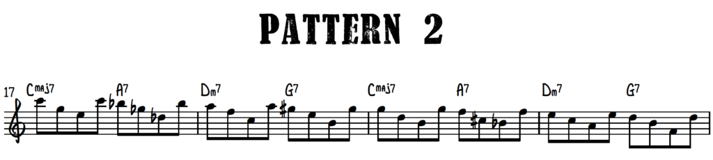Jazz piano upper structure pattern 2 with chord shells over turnaround progression (rhythm changes)