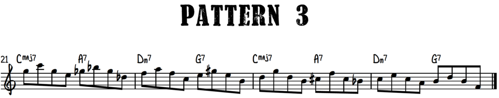 Jazz piano upper structure pattern 3 with chord shells over turnaround progression (rhythm changes)