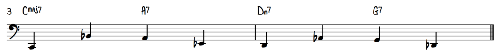 Jazz piano walking bass line for improv on turnaround progression (rhythm changes)