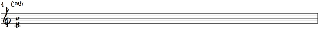 C Major 7 Chord Shell with 3 Notes (C E B)
