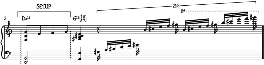 G13(#11b9) Cocktail Jazz piano arpeggio run with Dm11 chord setup