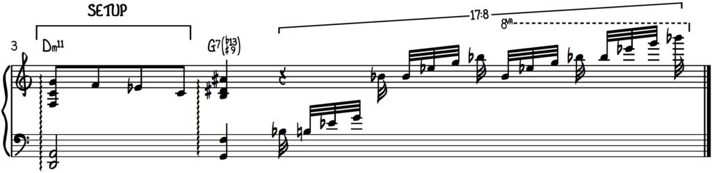 G13(b13#9) Blues piano arpeggio run with Dm11 chord setup