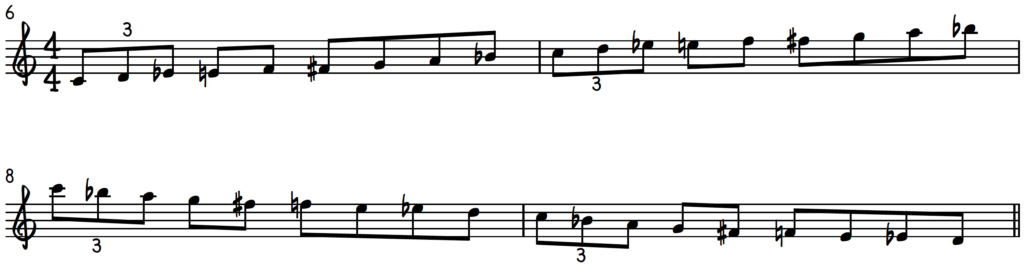 Jazz Piano Improv Exercise 1 - 8th Notes C Mixo-Blues Scale