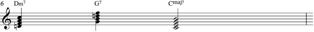 2-5-1 chord progression in C Major, jazz piano